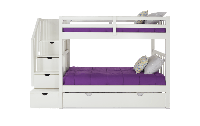 Keystone White Stairway Bunk Bed With Storage/Trundle Unit