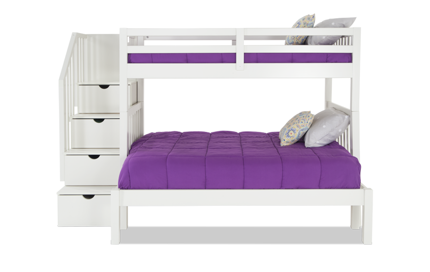 Keystone Stairway Twin/Full White Bunk bed