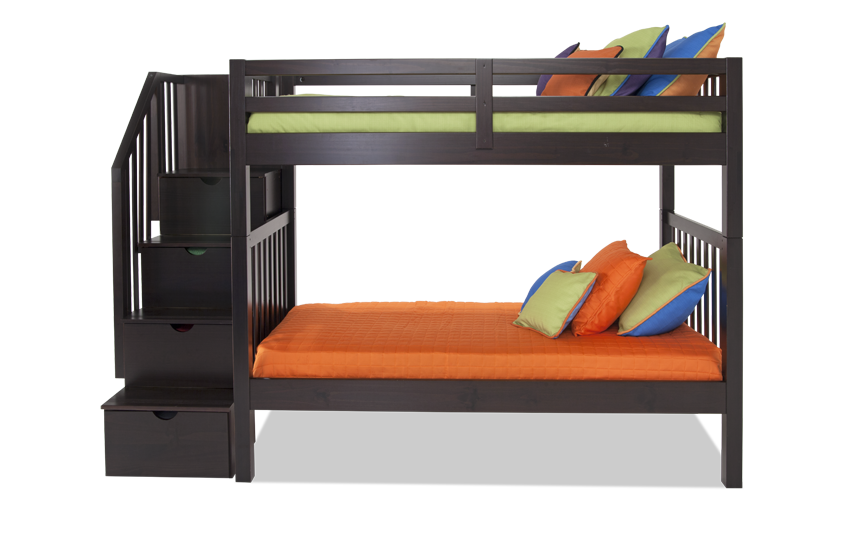Keystone Stairway Bunk Bed With 2 Twin Perfection Innerspring Mattresses