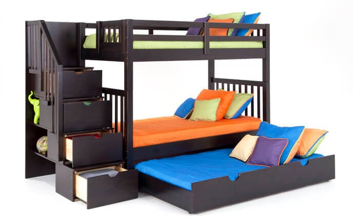 Keystone Stairway Bunk Bed With 2 Twin Perfection Innerspring Mattresses And Storage/Trundle Unit