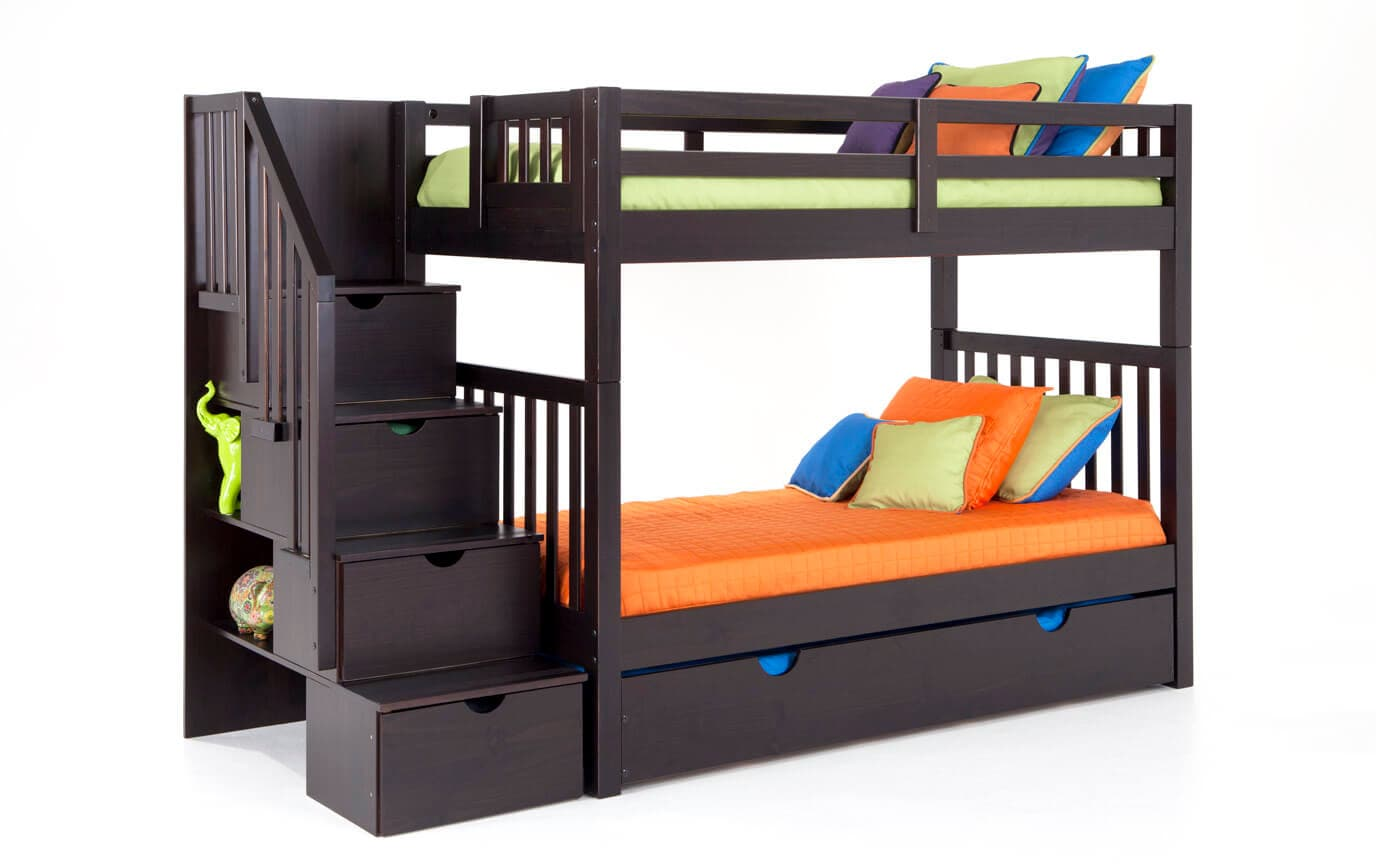 Keystone Stairway Bunk Bed With 2 Twin Perfection Innerspring