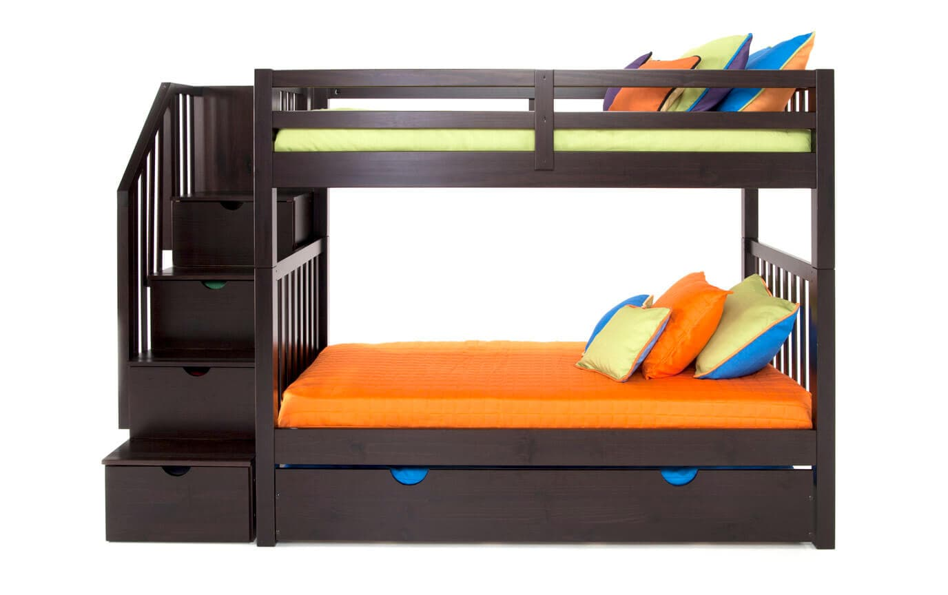 Keystone Espresso Stairway Bunk Bed With 2 Twin Perfection Innerspring Mattresses And Storage/Trundle Unit