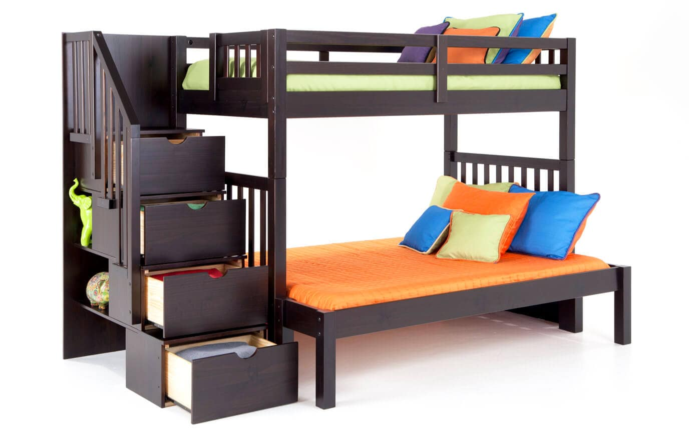 Keystone Espresso Stairway Twin/Full Bunk Bed With Perfection Innerspring Mattresses