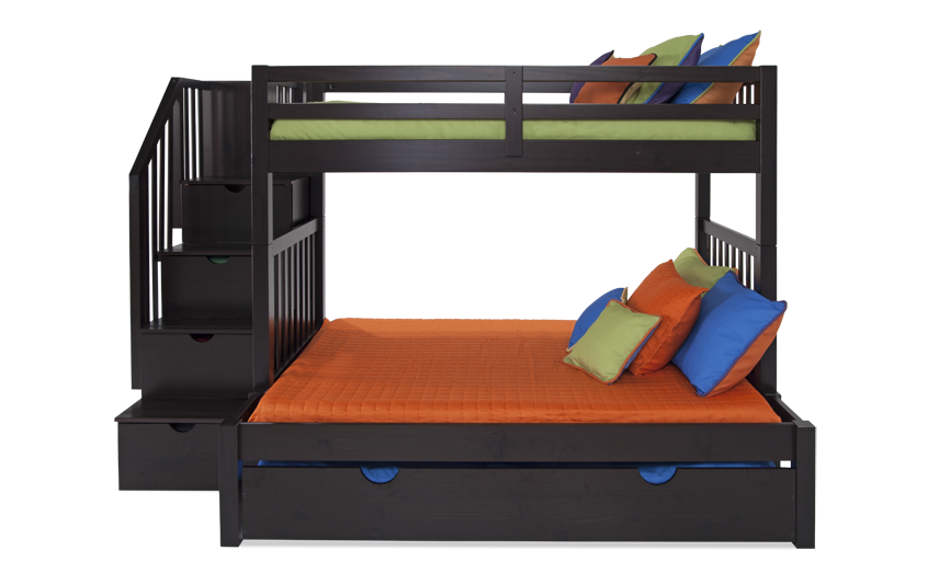 Keystone Stairway Twin/Full Bunk Bed With Perfection Innerspring Mattresses And Storage/Trundle Unit