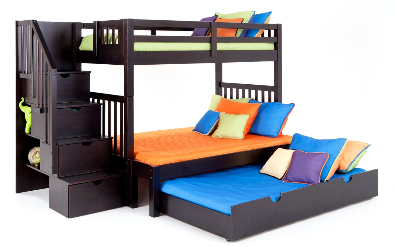 Keystone Espresso Stairway Twin/Full Bunk Bed With Perfection Innerspring Mattresses And Storage/Trundle Unit