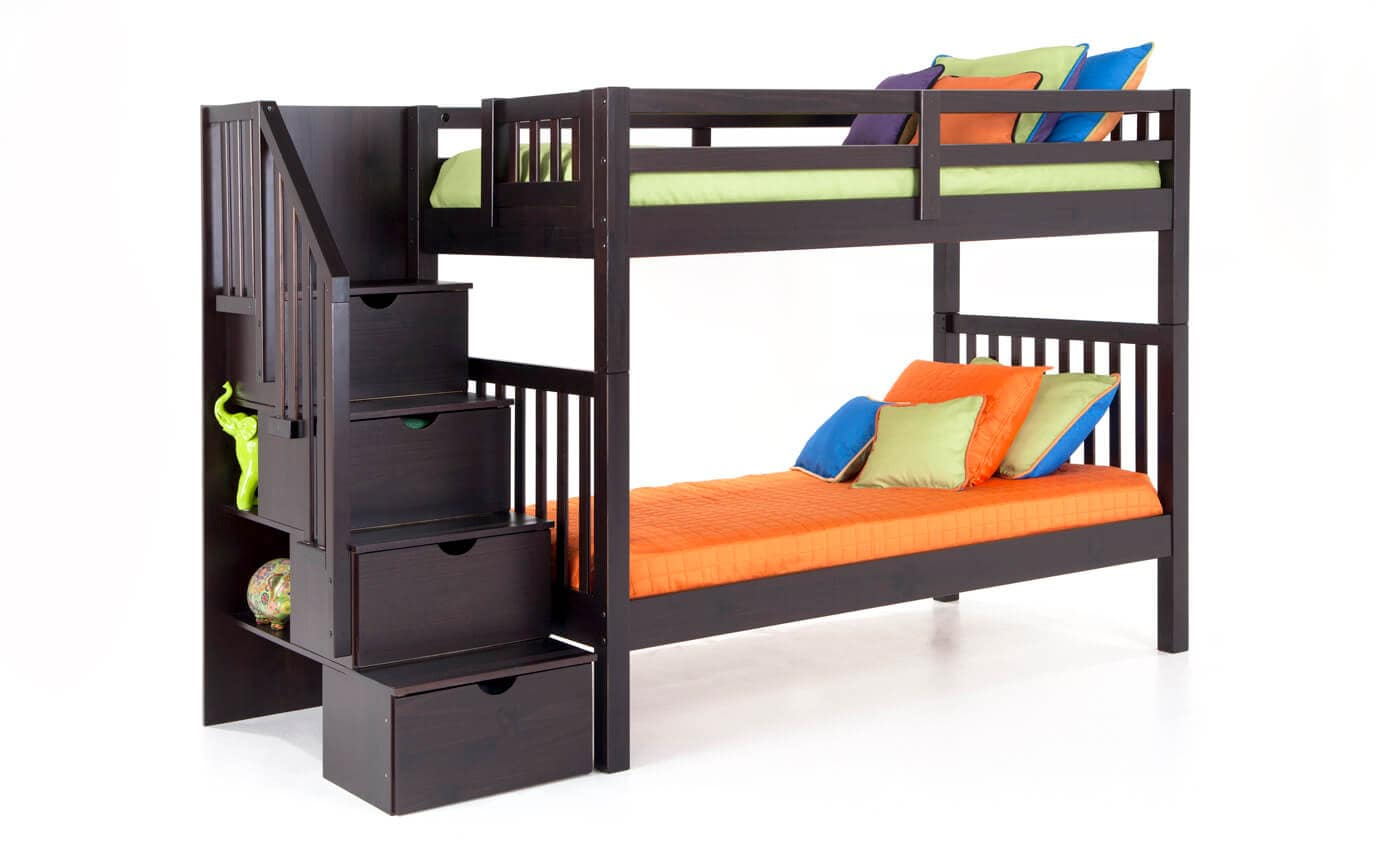 Keystone Espresso Stairway Bunk Bed With 2 Twin Bob O Pedic 6 Memory