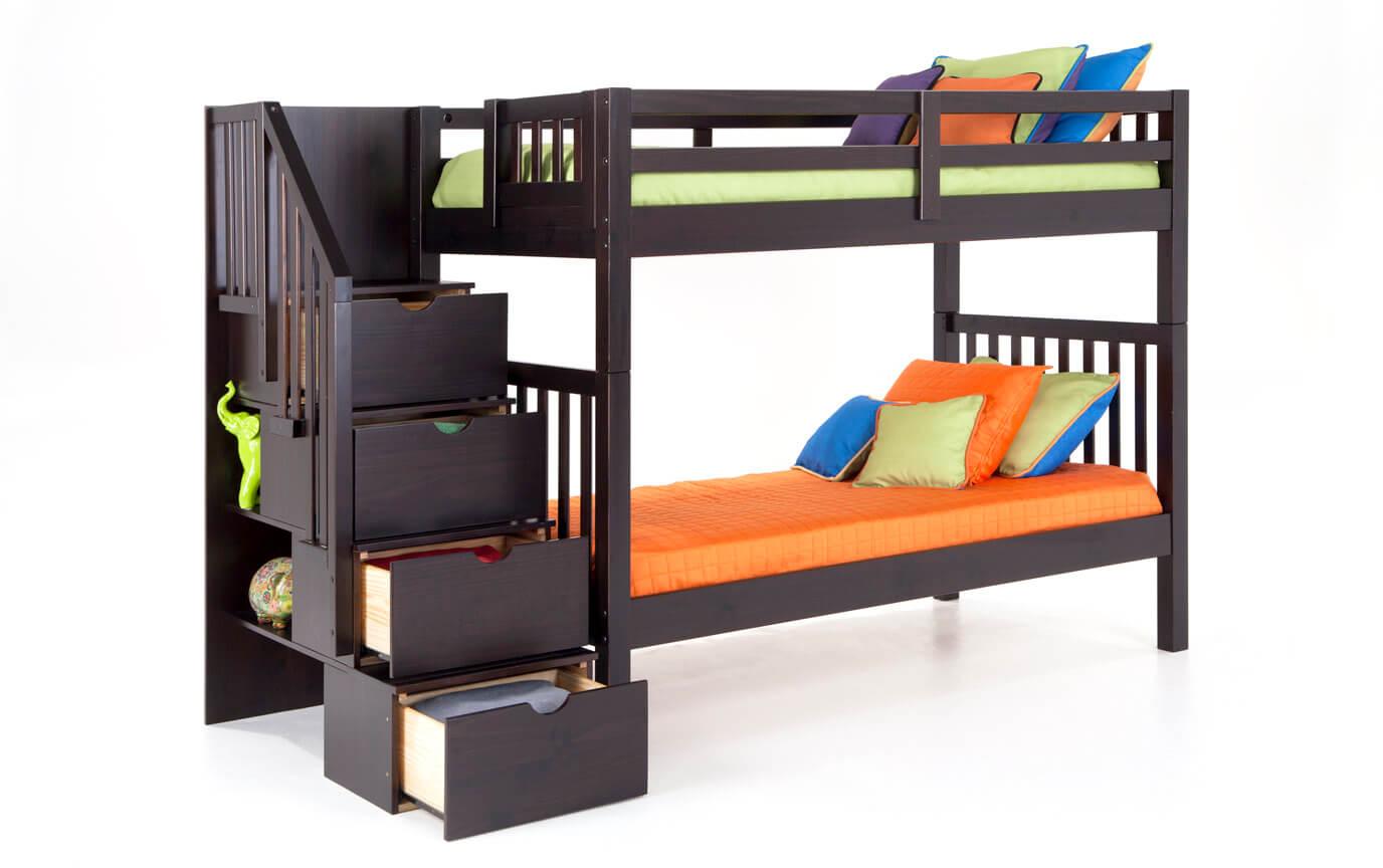 Keystone Espresso Stairway Bunk Bed With 2 Twin Bob-O-Pedic 6 Memory Foam Mattresses