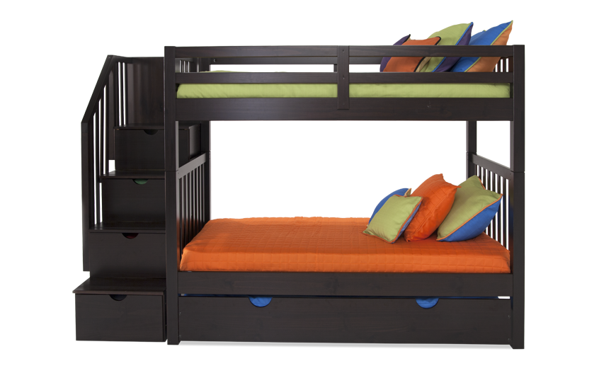 Keystone Stairway Bunk Bed With 2 Twin Bob-O-Pedic 6 Memory Foam Mattresses And Storage/Trundle Unit