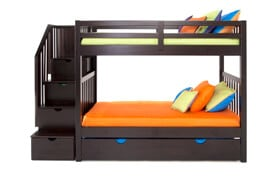 Keystone Espresso Stairway Bunk Bed With 2 Twin Bob-O-Pedic 6 Memory Foam Mattresses And Storage/Trundle Unit