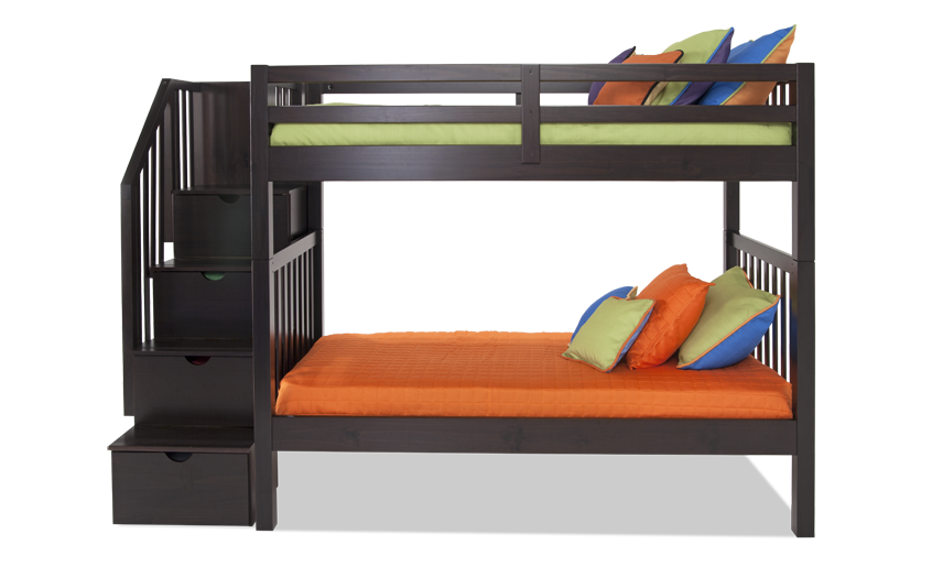 Keystone Stairway Twin/Full Bunk Bed With Bob-O-Pedic 6 Memory Foam Mattresses