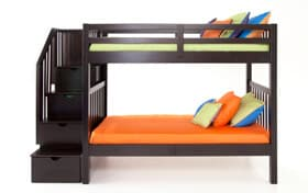 Keystone Twin/Full Espresso Stairway Bunk Bed With Bob-O-Pedic 6 Memory Foam Mattresses
