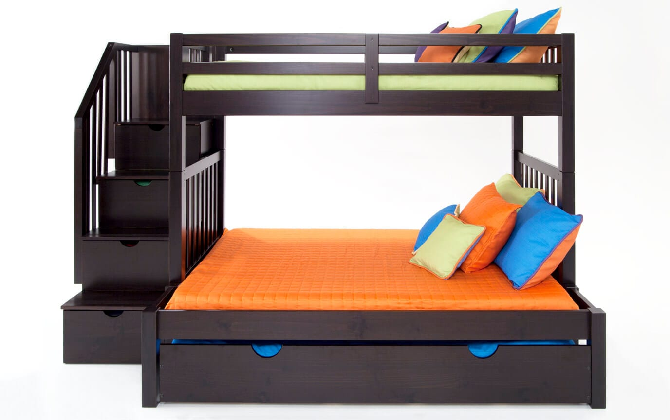 Keystone Stairway Twin/Full Bunk Bed With Bob-O-Pedic 6 Memory Foam Mattresses And Storage/Trundle Unit