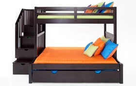 Keystone Stairway Twin/Full Espresso Bunk Bed With Bob-O-Pedic 6 Memory Foam Mattresses And Storage/Trundle Unit