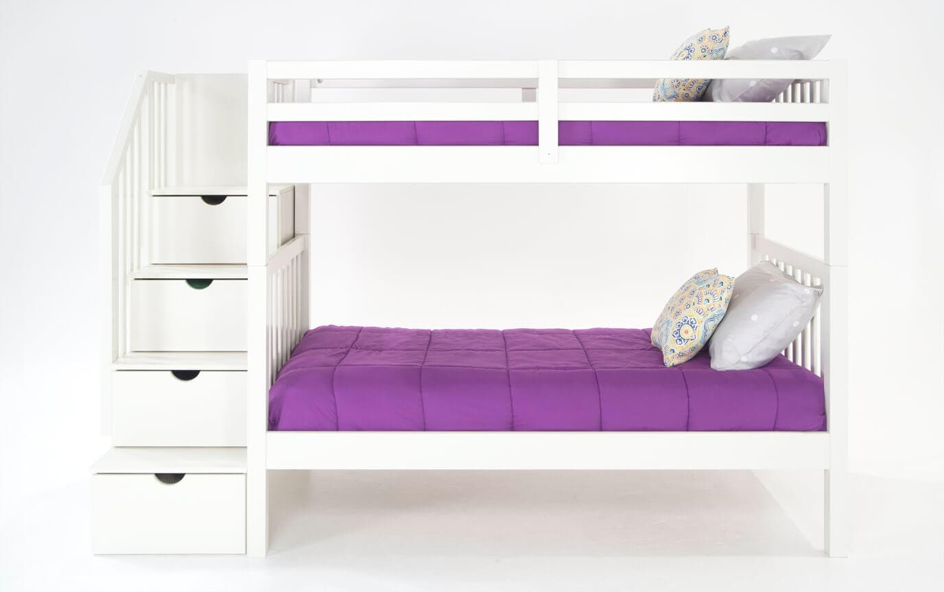 Keystone White Stairway Bunk Bed With 2 Twin Perfection Innerspring Mattresses