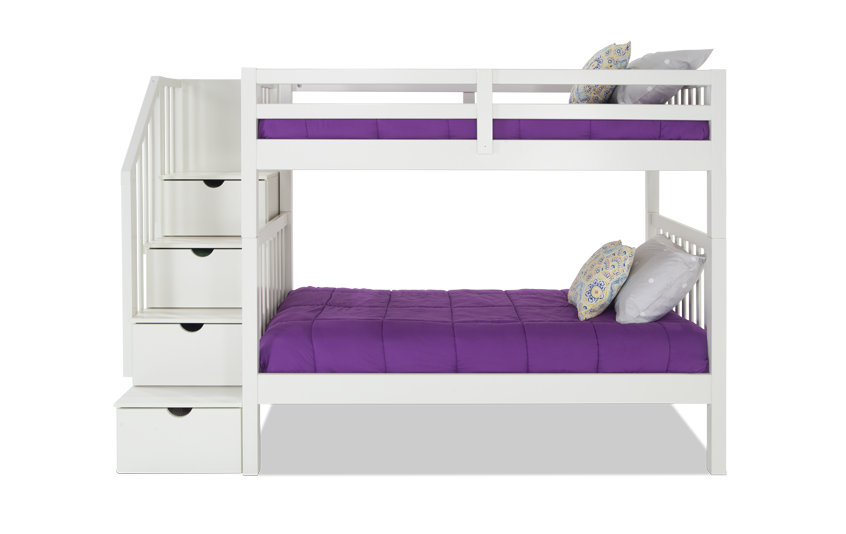 Keystone White Stairway Bunk Bed With 2 Twin Bob-O-Pedic 6 Memory Foam Mattresses