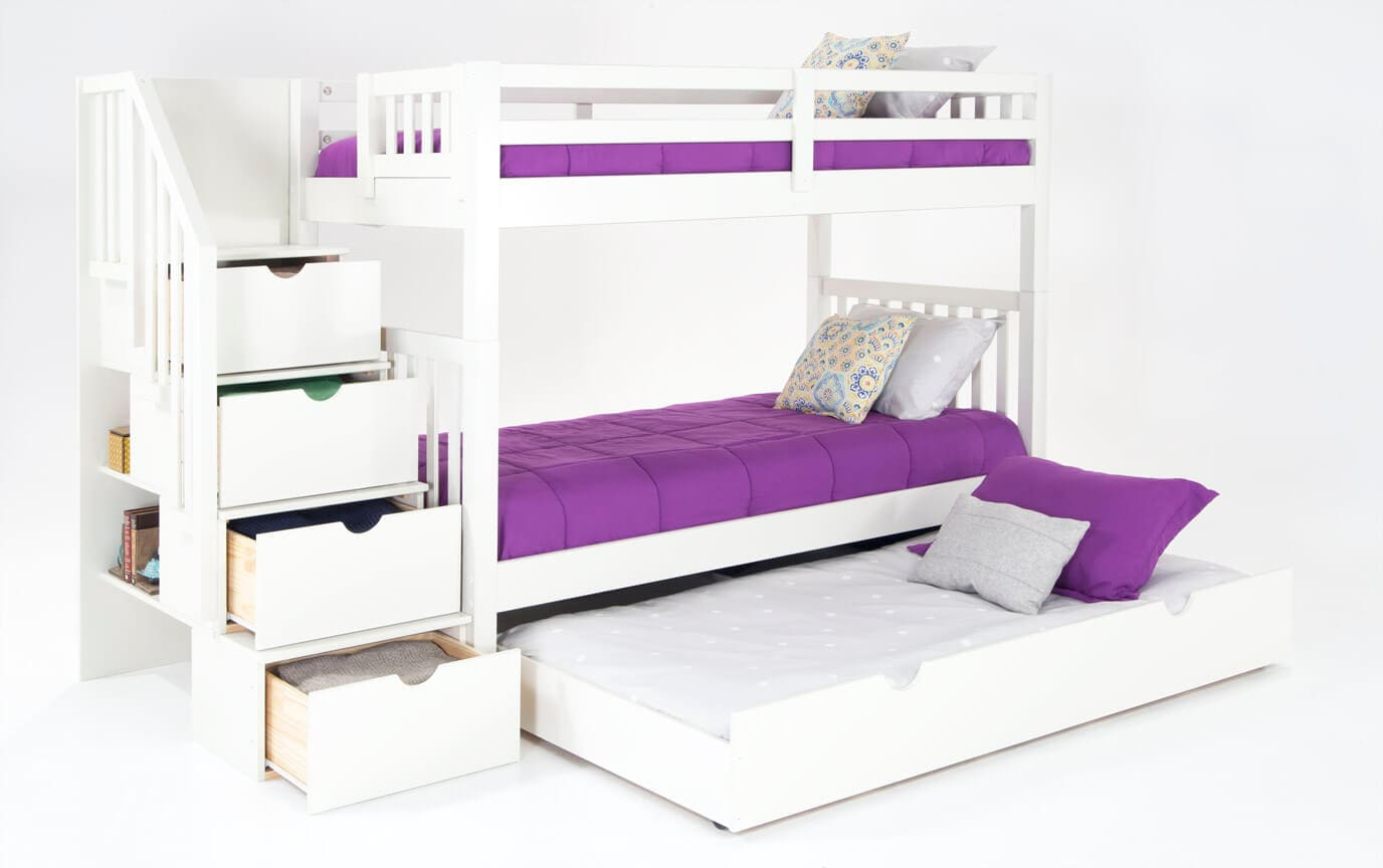 Keystone White Stairway Bunk Bed With 2 Twin Bob-O-Pedic 6 Memory Foam Mattresses And Storage/Trundle Unit