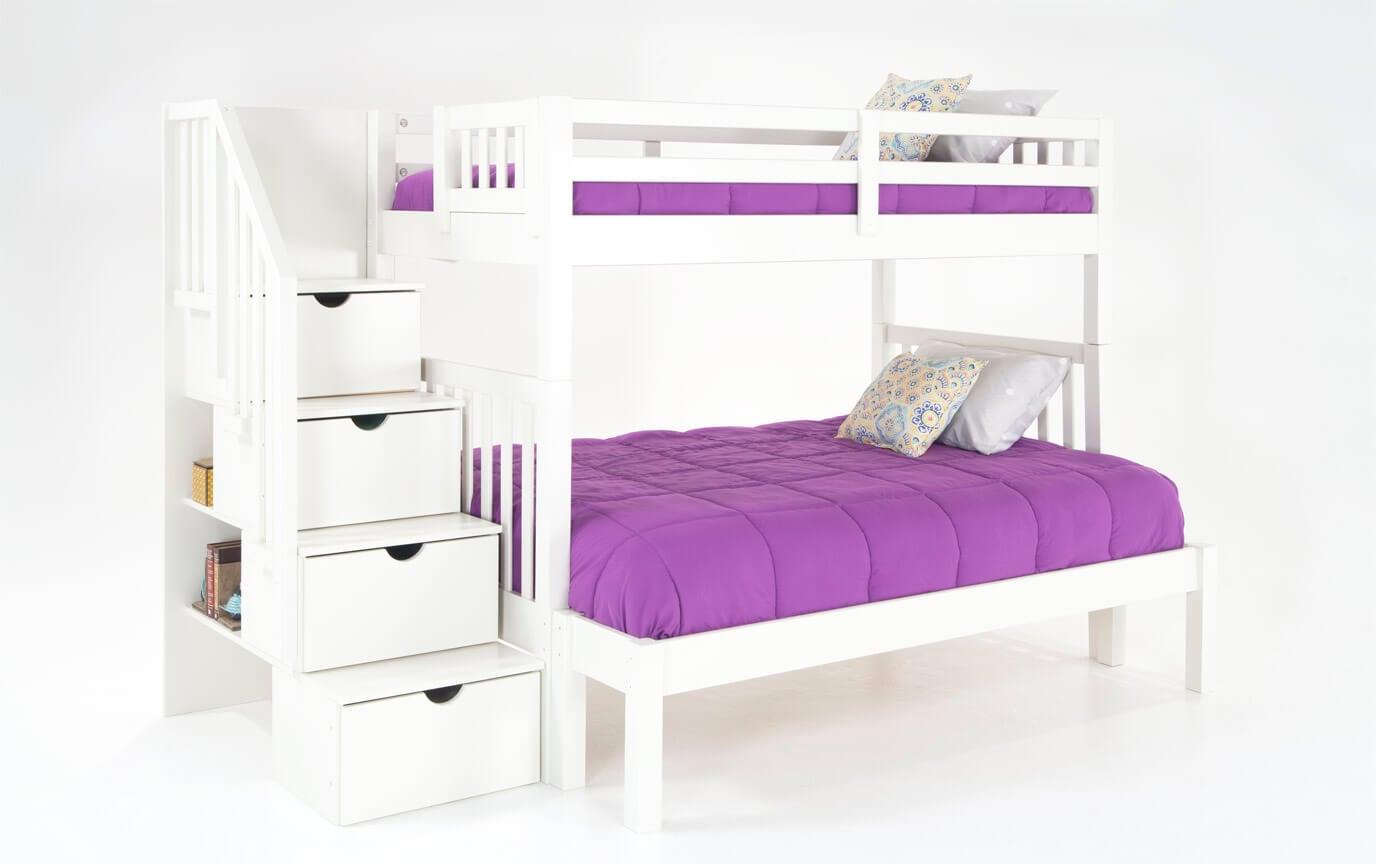 Keystone Twin/Full White Stairway Bunk Bed With Bob-O-Pedic 6 Memory Foam Mattresses