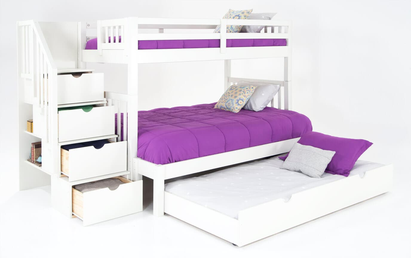 Keystone Stairway Twin/Full White Bunk Bed With Bob-O-Pedic 6 Memory Foam Mattresses And Storage/Trundle Unit