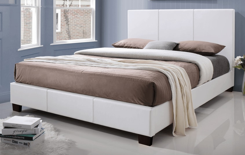 Kelsey Queen White Upholstered Bed