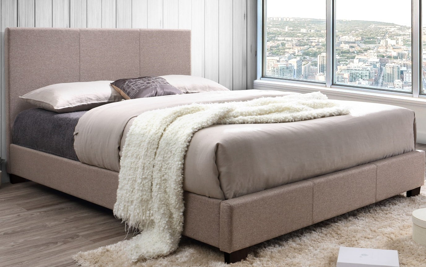 Casey Upholstered Queen Beige Bed