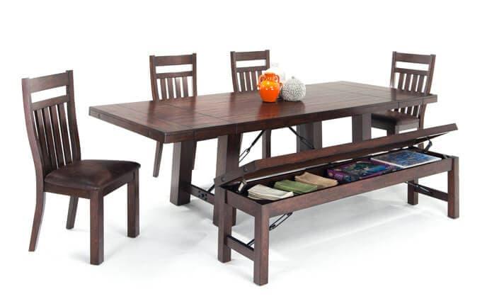 ... Mesa 6 Piece Dining Set With Storage Bench