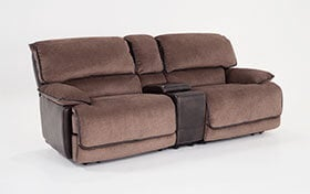 Dawson Brown Dual Power Reclining Console Loveseat
