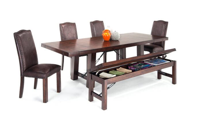 Mesa 6 Piece Dining Set with Storage Bench & Upholstered Chairs