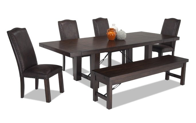 Mesa 6 Piece Dining Set With Storage Bench And Upholstered Side Chairs