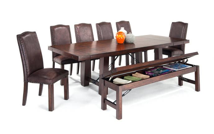 Mesa 8 Piece Dining Set With Storage Bench And Upholstered Side Chairs