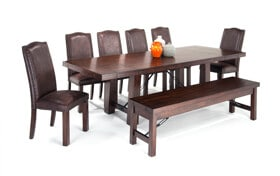 Mesa 8 Piece Dining Set with Storage Bench & Upholstered Side Chairs