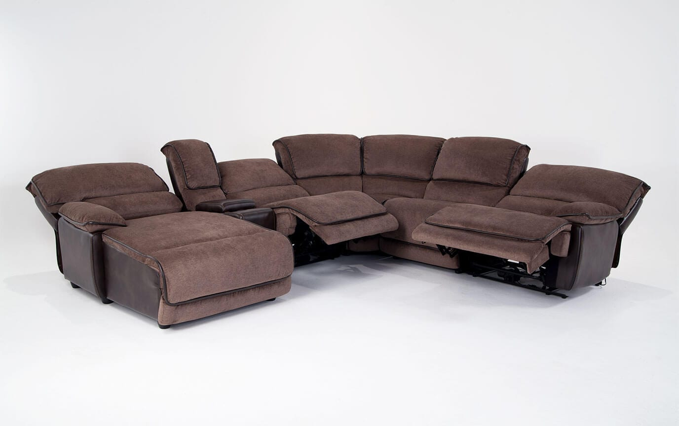 Dawson Brown 6 Piece Power Reclining Right Arm Facing Sectional