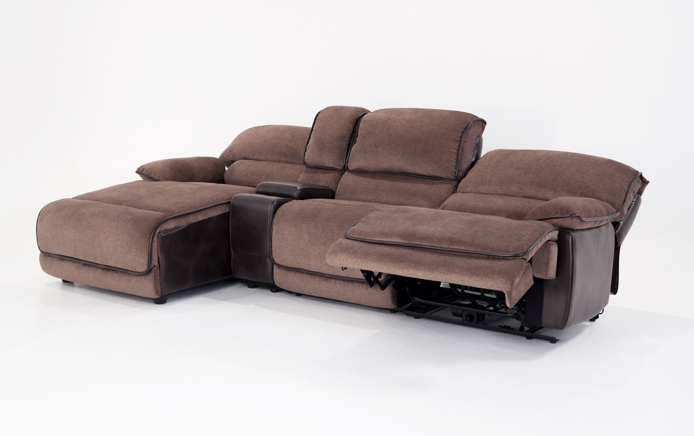 Dawson Brown 4 Piece Power Reclining Right Arm Facing Console Sectional