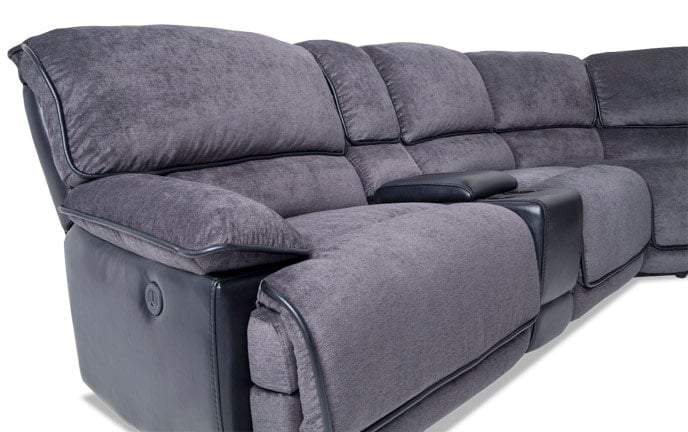 Dawson Power 6 Piece Left Arm Facing Sectional With Armless Recliner