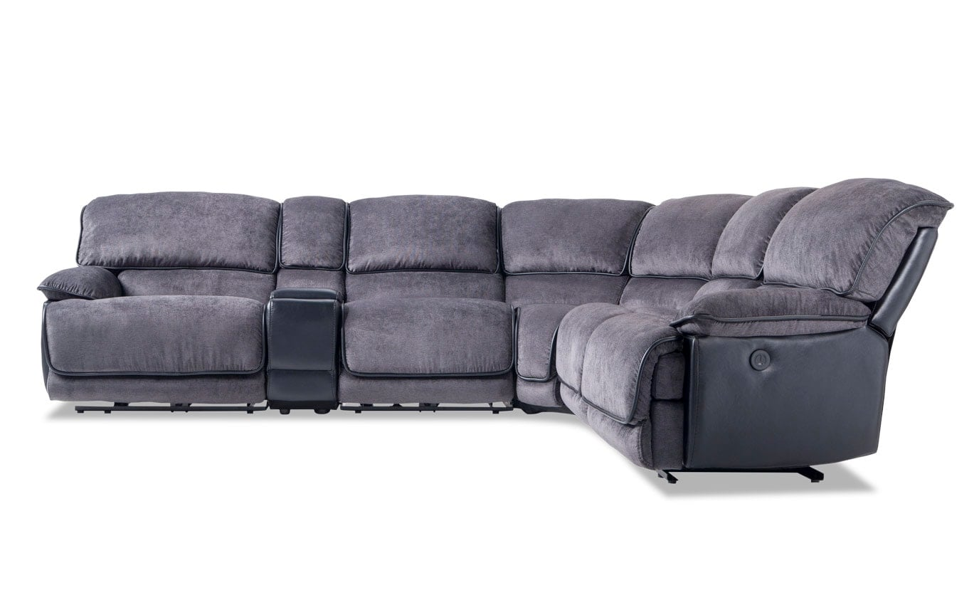 Dawson 6 Piece Power Reclining Sectional With Armless Recliner