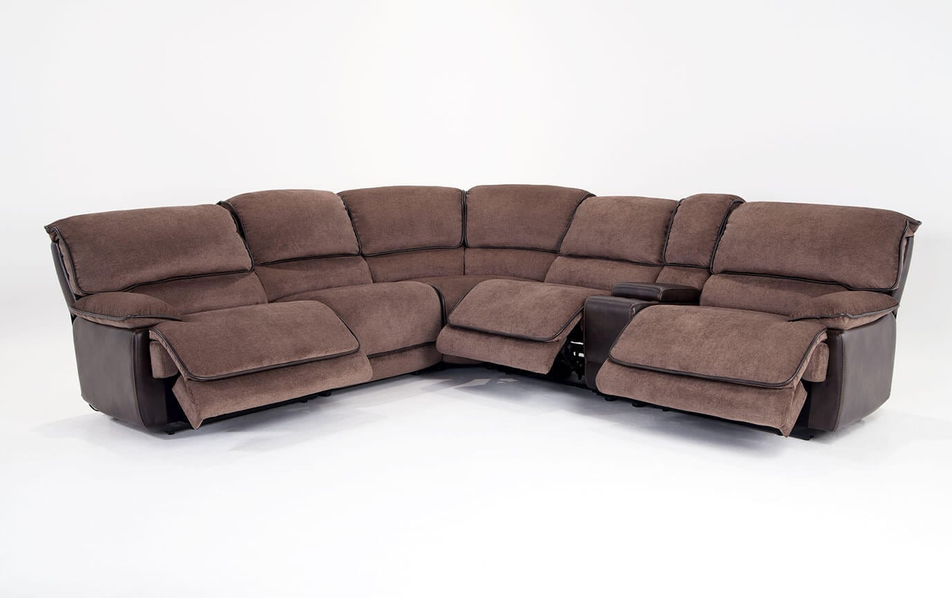 Dawson Brown 6 Piece Power Reclining Sectional With Armless Recliner