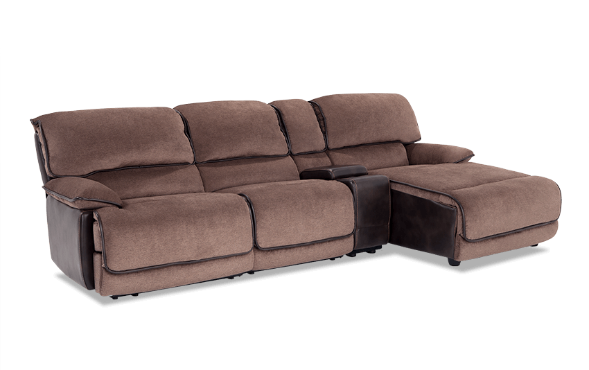 Dawson Brown 4 Piece Power Reclining Left Arm Facing Console Sectional