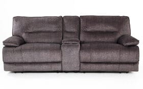 Pacifica Gray Power Reclining Console Loveseat
