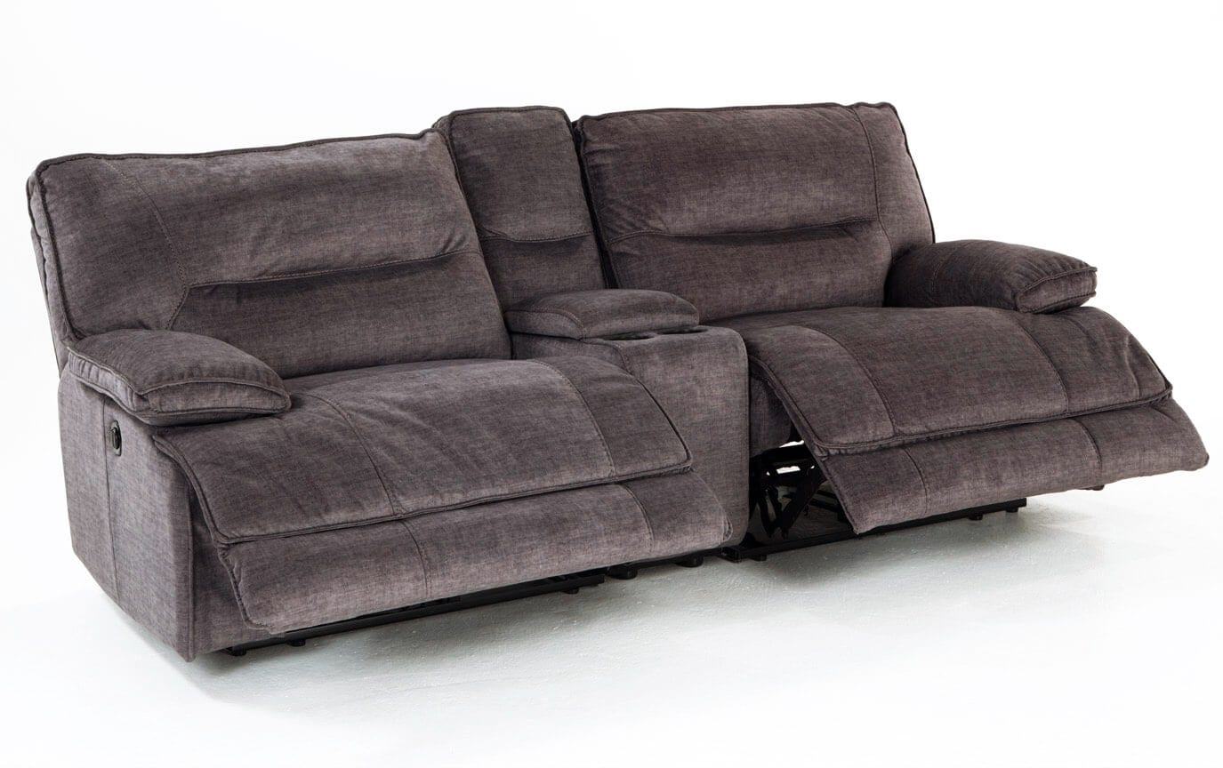 Pacifica Gray Power Reclining Console Loveseat Bobs Com