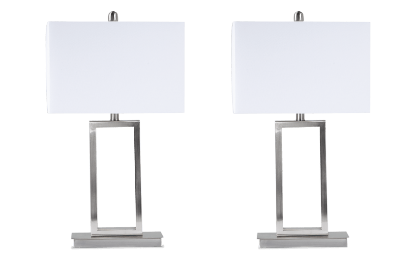 Set of 2 Gateway Brushed Steel Table Lamps