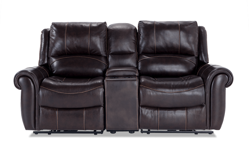 Bennett Leather 79 Quot Power Reclining Console Loveseat