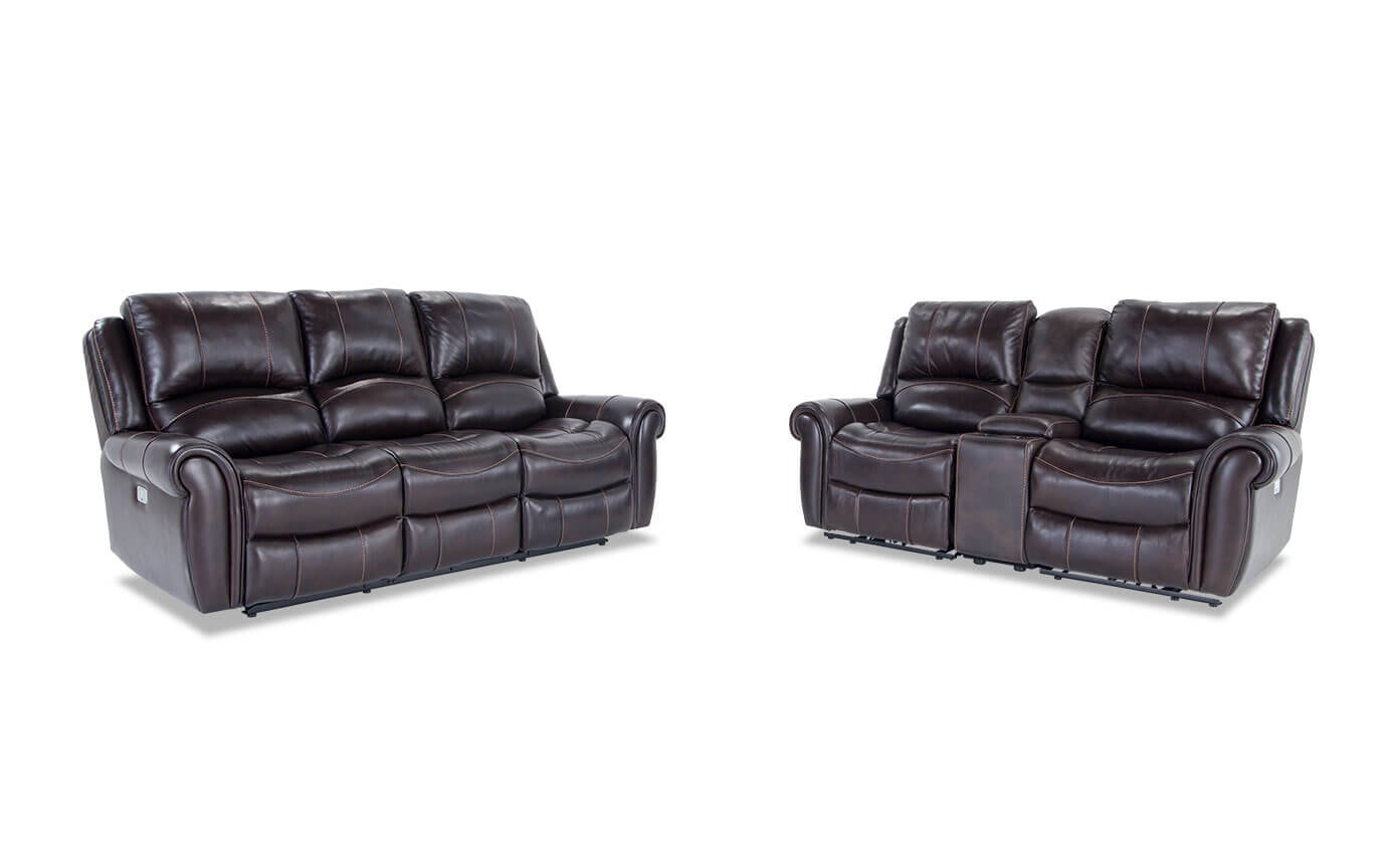 Bennett Leather Power Reclining Sofa Console Loveseat Bobs Com