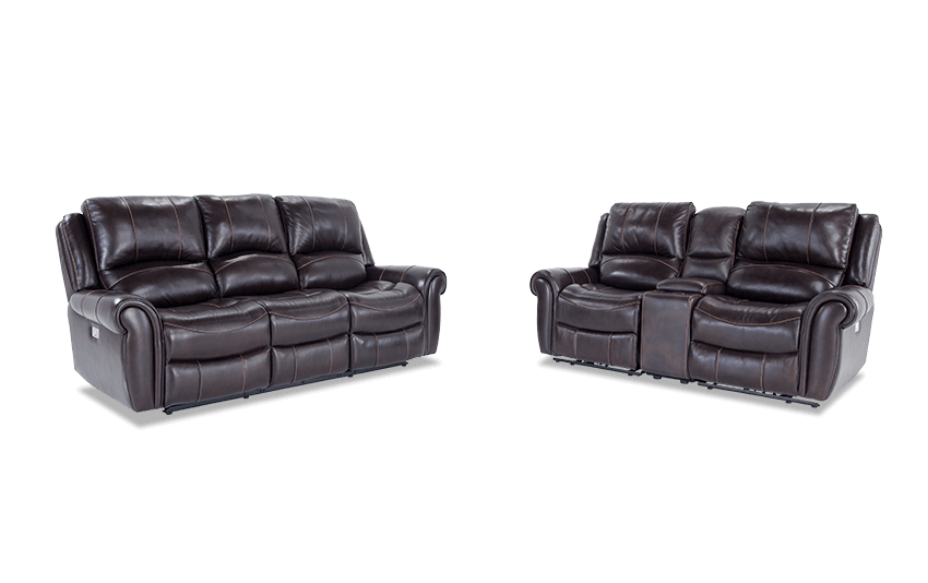 Bennett Leather Power Reclining Sofa and Power Reclining Console Loveseat