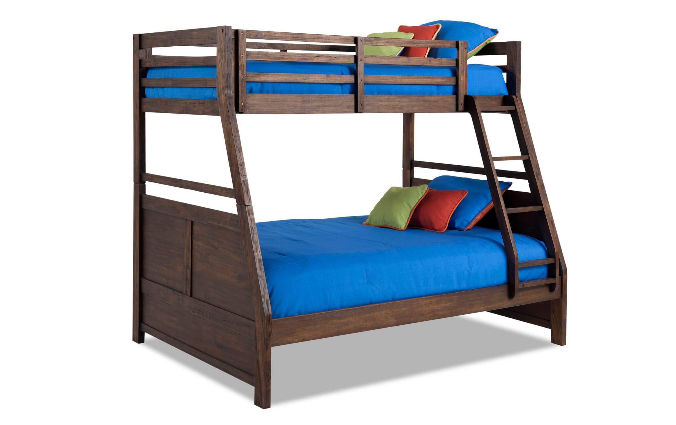 Chadwick Rustic Twin Full Wire Brush Bunk Bed Bob S Discount Furniture