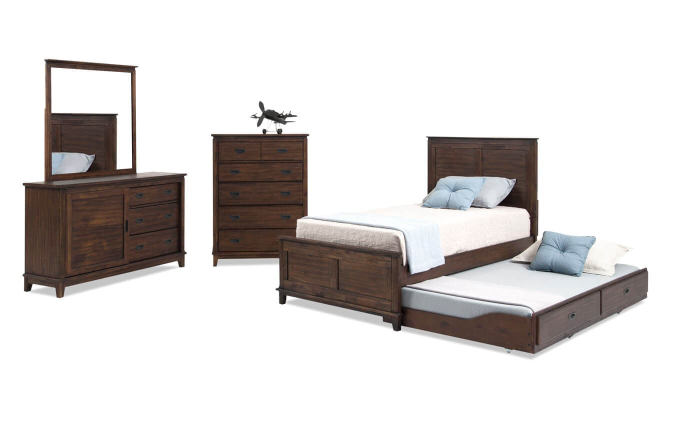 Chadwick Twin Rustic Trundle Bedroom Set With Panel Bed