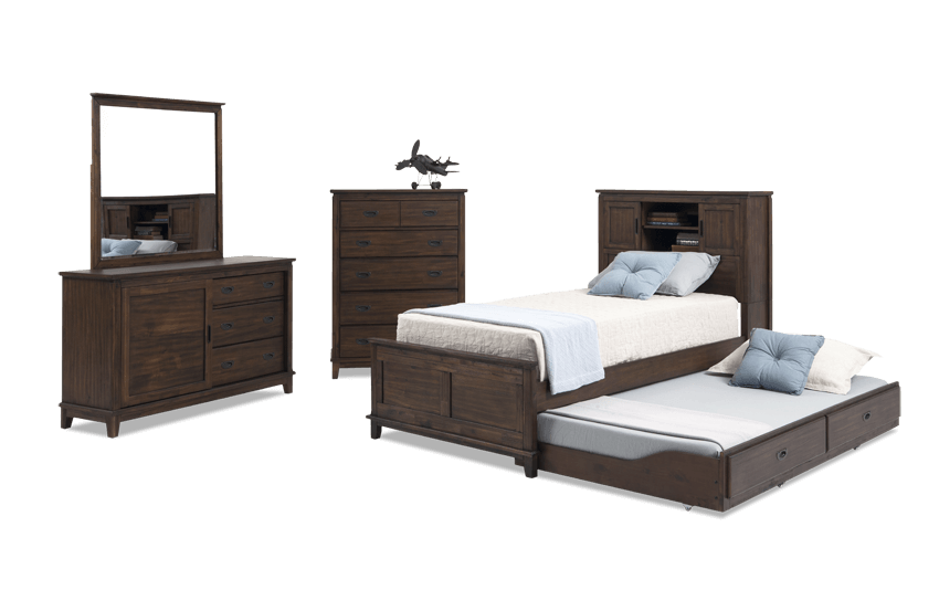 Chadwick Twin Rustic Trundle Bedroom Set With Bookcase Bed