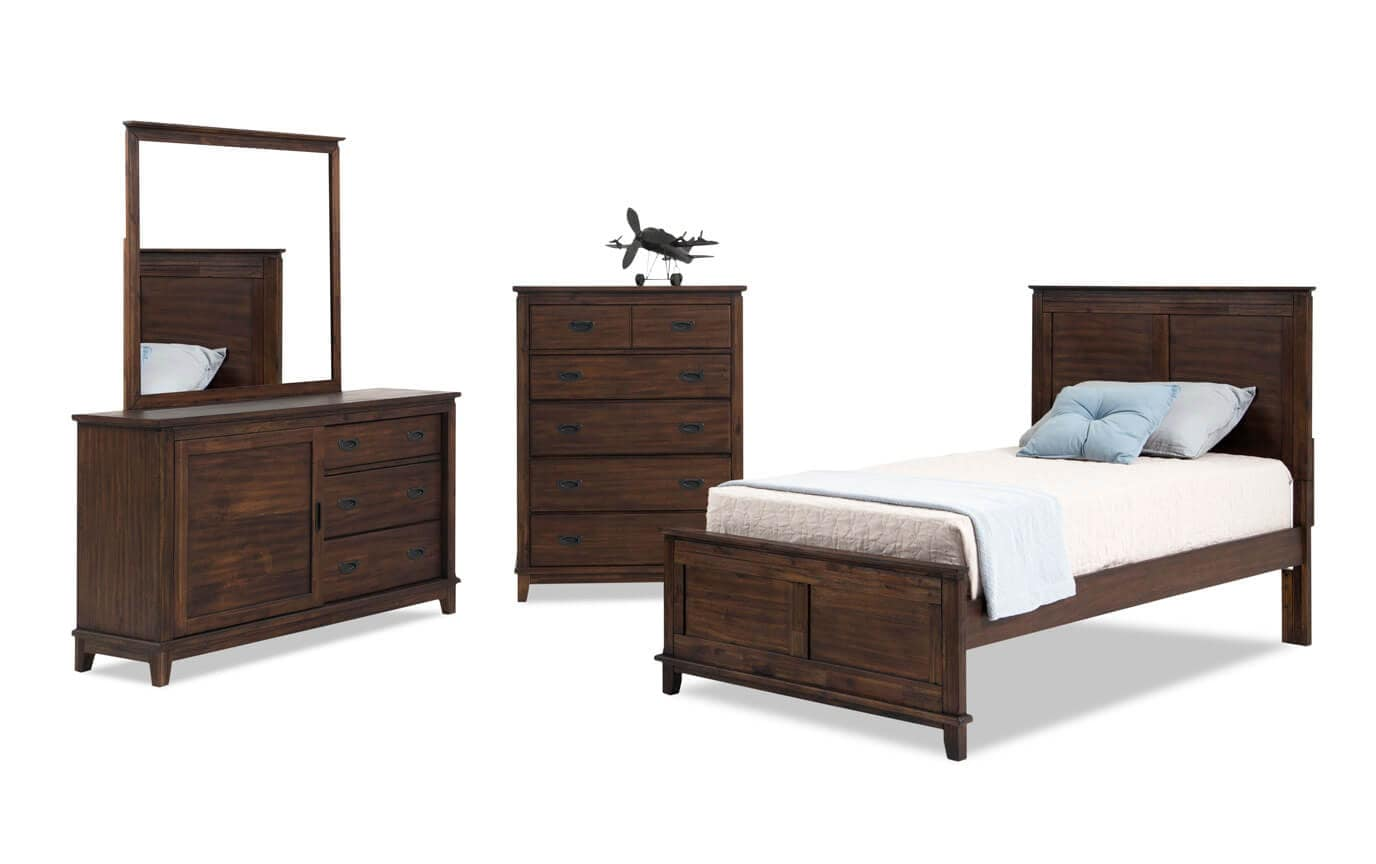 Chadwick Twin Rustic Panel Bedroom Set With Chest