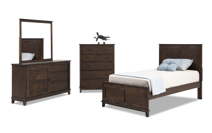 Chadwick Full Rustic Panel Bedroom Set with Chest