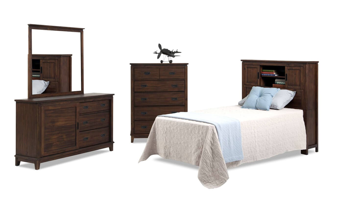 Chadwick Twin Rustic Bookcase Bedroom Set