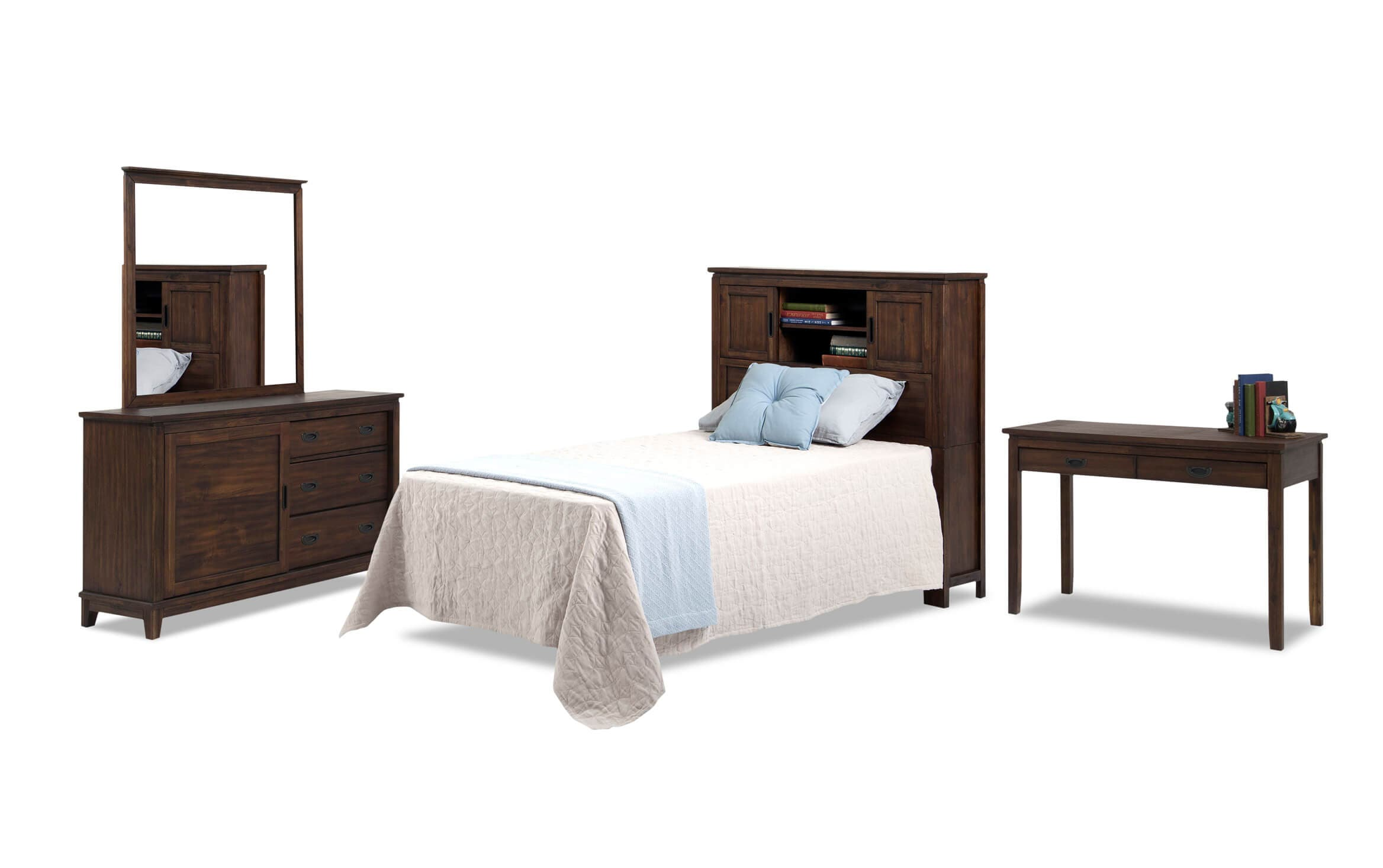 Chadwick Twin Rustic Bookcase Bedroom Set With Desk Bobs Com
