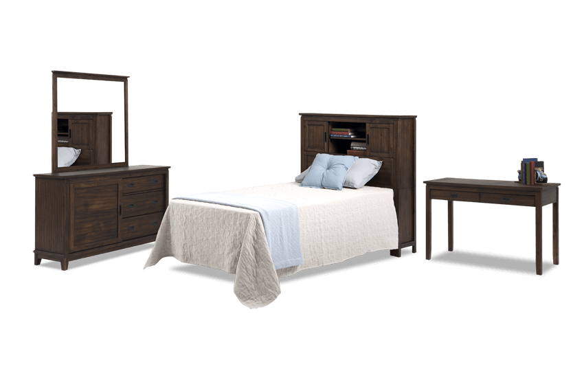 Chadwick Twin Rustic Bookcase Bedroom Set With Desk
